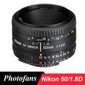 Objectif Nikon 50mm AF 50/1.8D objectifs pour Nikon D90 D7100 D7200 D7500 D500 D610 D750 D810 D850 objectif d'appareil photo reflex numérique