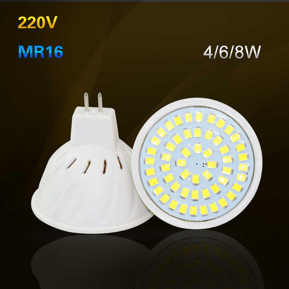 MR16 4W 6W 8W LED Bulb Lamp 220V 230V 240V 36Leds 54Leds 72Leds SpotLight Kitchen Hotel Bedroom Lighting Lampada Led Lights 1PCS