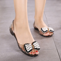 Women Summer Sandals Brand Melissa Plastic Shoes Transparent Crystal Jelly Shoes Pearl Sandals Open Toe Beach