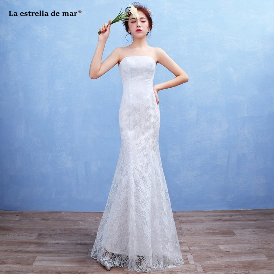 wedding party dress2019 new lace Strapless Backless ivory red sexy mermaid   bridesmaid     dress   long cheap vestido madrinha
