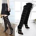2017 Del Otoño Del Resorte Peep Toe Cut-outs Mujeres de Moda Negro Tacones Delgados Over-the-knee Boots botas altas hasta la Rodilla Zapatos de Mujer Plus Size40