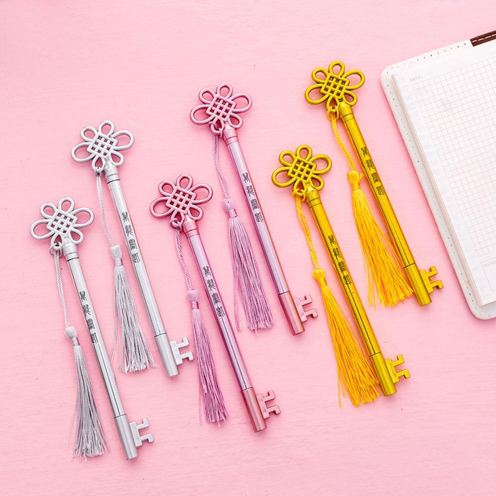 1pcs Creative Personality Key Pen Fashion Court Wind Tassel Pendant Gel Pen Student Stationary School Office Suppliers Black Pen