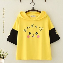 SzBlaZe Pokemon Pikachu Anime Cartoon Hooded T Shirt Short Sleeve Mori Girls Cute With Ears Print  kawaii  Hooded TShirt Top Tee girls cartoon print pep hem hooded dress