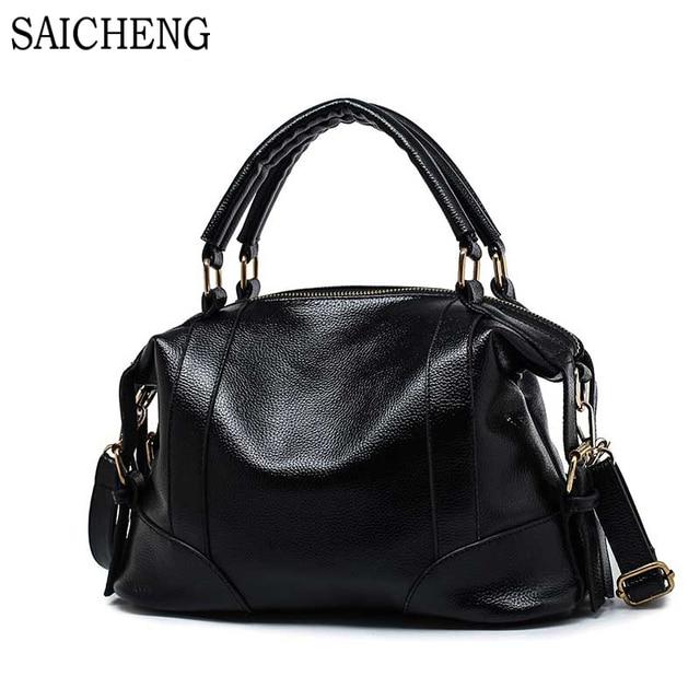 SAICHENG High Quality Leather Bag Ladies Bags Womens Handbags Famouse Brands Shoulder Bags For Women Bag Hobos 2016 Sac A Main