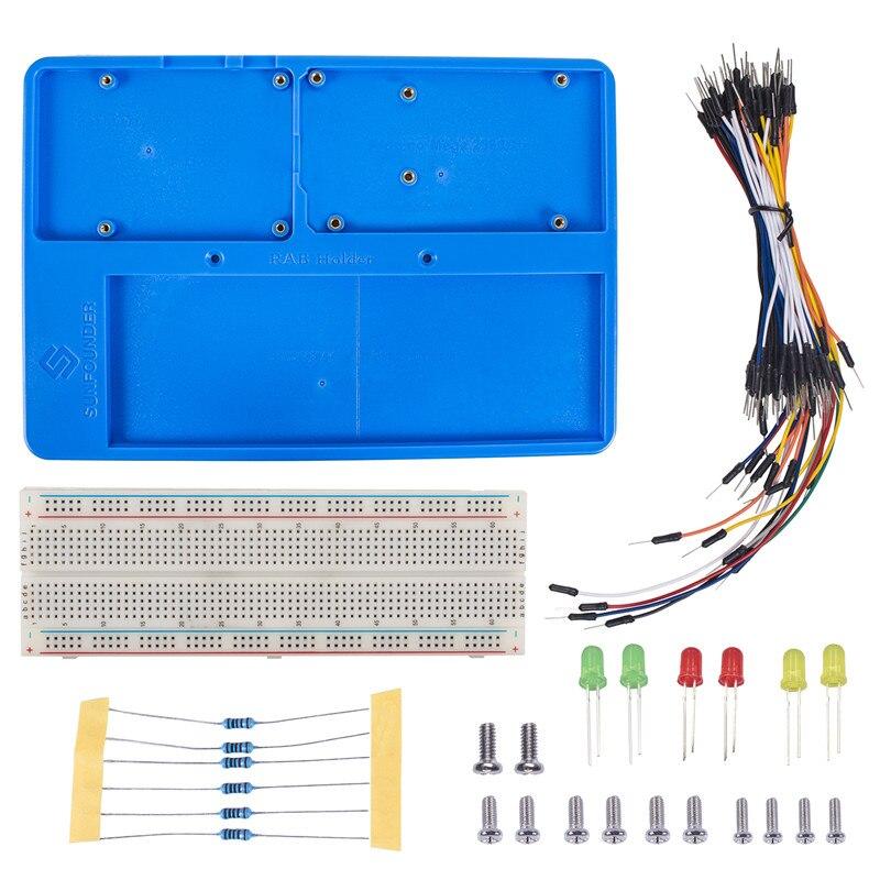 SunFounder RAB Titulaire Kit avec 830 Points Soudure Circuit avec Planche À Pain Jumper Fils LED Résistances pour Arduino Uno R3 Mega