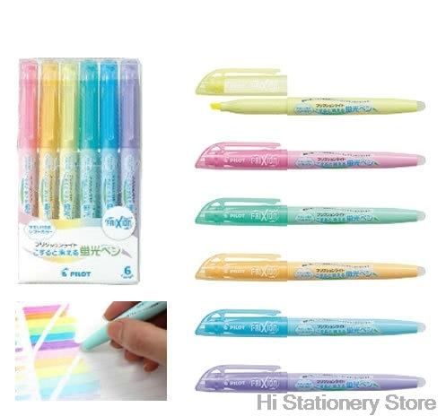 6Pcs Pilot FriXion Light Erasable Highlighter fluorescent pen SFL-10SL 6 Soft Color Ink Erasable Writing Supplies 6 color party cosplay fun face body painting pen 6 pcs