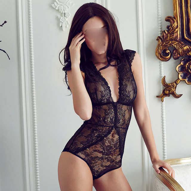 European  sexy full lace transparent ultrathin jumpsuits plus size women bodysuit girls deep-v comether womens clothing