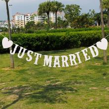 """JUST MARRIED"" Western Letter Garland Banner Wedding Party Photography Props Decoration Photo Booth Wedding Decoration"