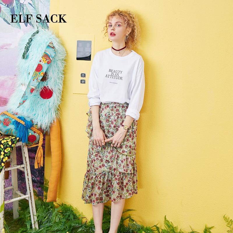 ELFSACK 2019 Summer Woman 2 Pieces Set Cotton O-Neck Letter Print Women Tshirt And Elastic Waist Chiffon Ladies Skrits
