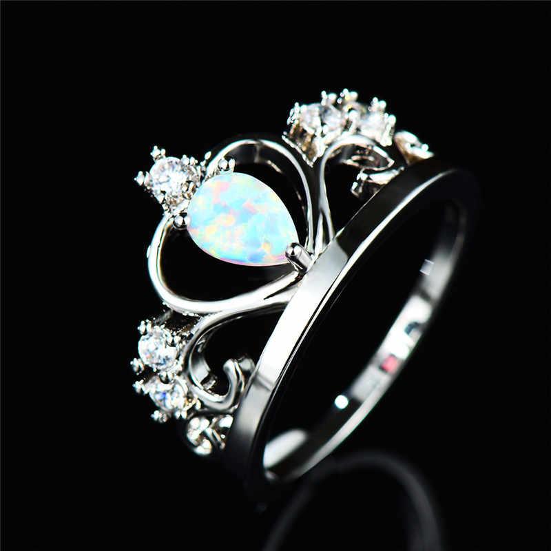 Boho женское кольцо с белым огненным опалом, уникальные кольца 925 короны из стерлингового серебра, винтажное обручальное кольцо, обещание на помолвку, кольца для женщин