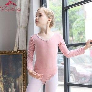 Image 2 - Z długim rękawem dla dzieci taniec baletowy trykot baleriny Party Gold Velvet odzież do tańca dla dziewczynek i małych dzieci