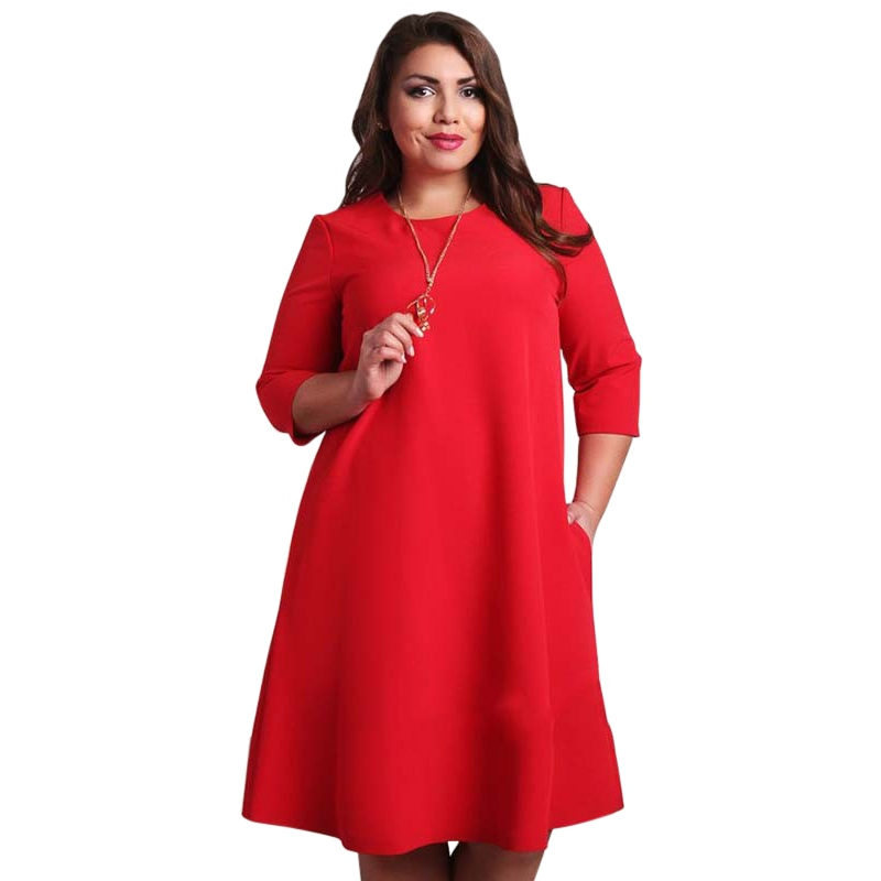 Sexy Women's Loose Casual 3/4 Sleeve Evening Party Short Mini Dress Plus Size