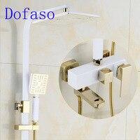 Dofaso старинные медные черного и золотого цвета смеситель для душа и белый золотой набор для душа смеситель квадратная голова душ 8 дюймов