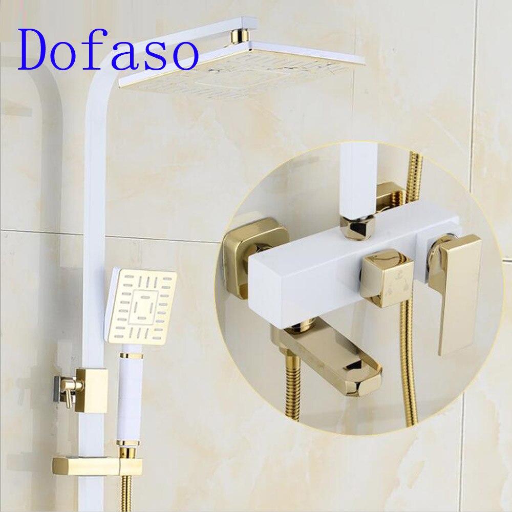 Dofaso ouro torneira do chuveiro de cobre do vintage preto e branco golden shower set mixer praça cabeça de chuveiro de 8 polegada