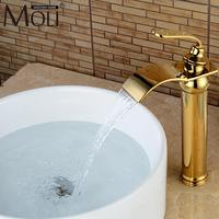 Luxury Waterfall Gold Crane Bathroom Sink Faucet High Hot And Cold Water Mixer Tap Copper Basin
