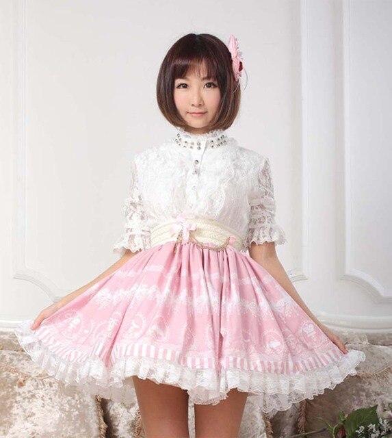559784ac848ab3 € 26.32 12% de réduction Haute qualité belles femmes jupes rose imprimé  Kawaii jupes Lolita rose doux dentelle princesse jupe taille haute ...
