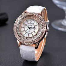 Simple Quartz Wrist Watches Wristwatch Shining Diamond  Analog Leather Graceful Women Strap Active Luxury
