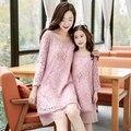 Família roupas combinando nove quarter manga clothing moda renda vestidos de mãe e filha roupas família set família dr01