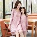 Familia ropa a juego nueve cuartos de manga vestidos de encaje de la ropa de la familia de madre e hija clothing conjunto familia de la manera dr01