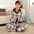New arrival sleepwear men's long-sleeved thick winter cotton plaid tracksuit plus size L-XXXXL pajamas men fashion pijama hombre