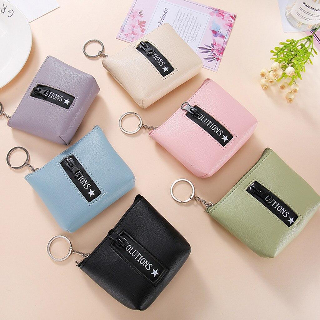 Mignon bourse en polyuréthane carte clé Mini sac à main pochette petit Zipper porte-monnaie portefeuille porte-cartes quatre couleurs disponibles petits portefeuilles