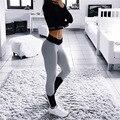 2016 Novas mulheres Leggings trecho movimento saco calças hip calças skinny são cinza e vermelho escuro cinza costura Leggings esportivos