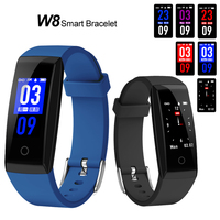 W8 Smart Bracelets Sports Smart Band Heart Rate Monitor Fitness Activity Tracker Waterproof Wristbands with Color LED Display