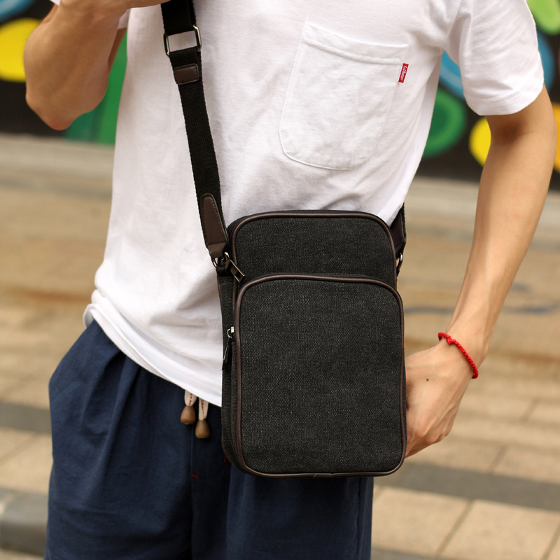 Diagonal canvas shoulder bag men Messenger bag Korean version ...
