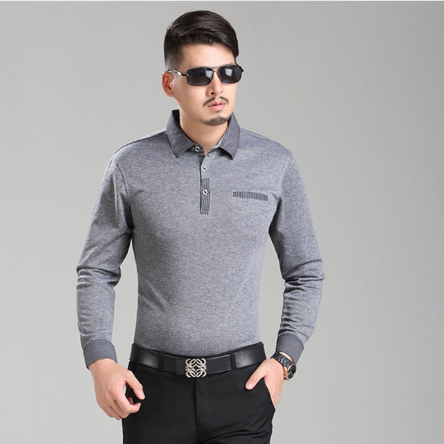 Men Polo Shirt 2016 New Winter Men's Long Sleeve Polo Lapel Striped Classic Fashion Business Casual Shirts Clothes