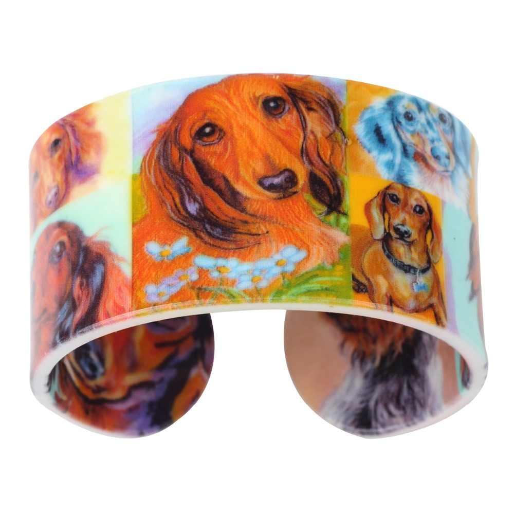 Weveniアクリルデザイン愛広いダックスフント犬腕輪ブレスレットジュエリー女性のための新しいファッション動物アクセサリーギフト用恋人