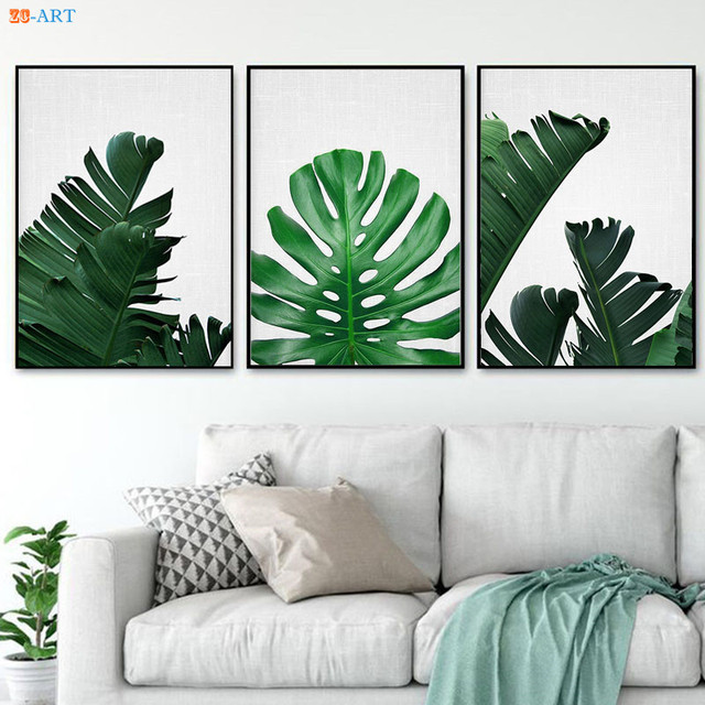 Banana Leaves Posters And Prints Tropical Wall Art Canvas Painting Pictures For Living Room Kitchen