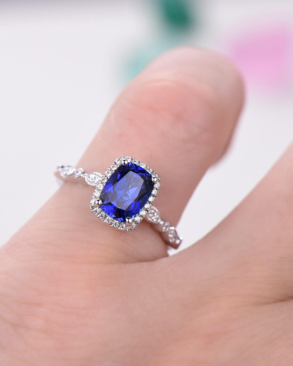Lab Blue Sapphire Wedding Ring 14k White Yellow Rose Gold Cushion ...