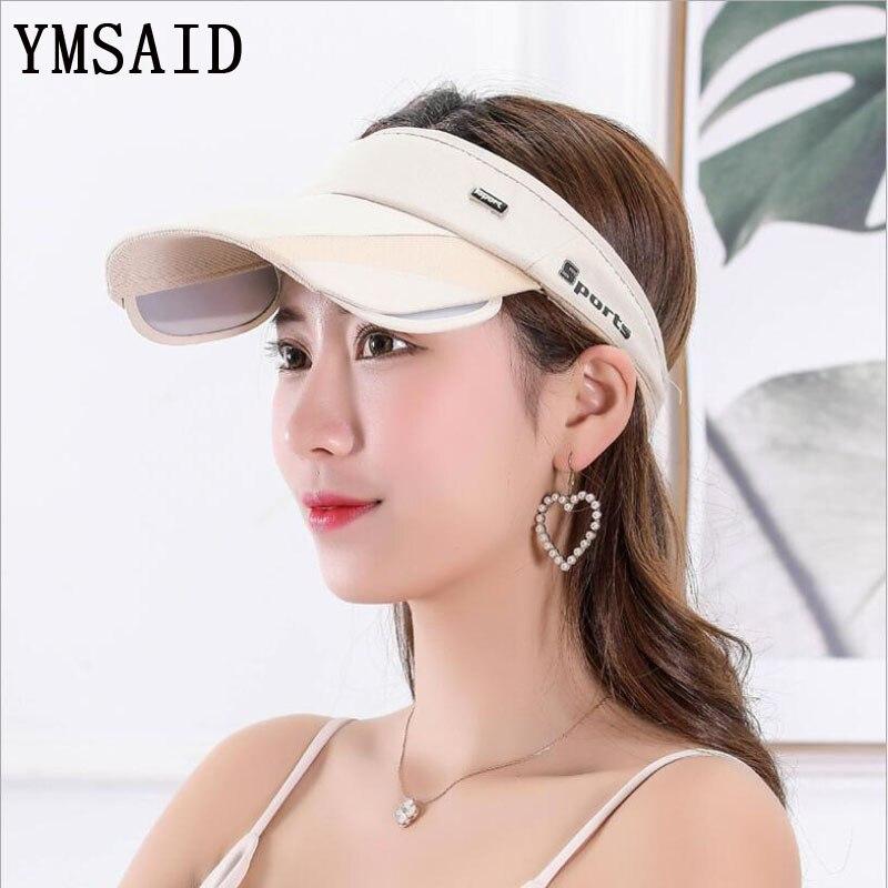 Ymsaid 2018 New Retractable Visor Female Summer Sun Empty Top Hat Riding Outdoor Sports Cap UV Sun Hat Woman Beach Hat