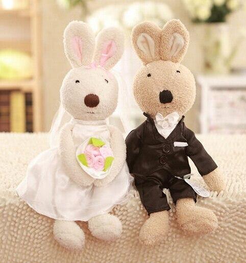 Игрушек! Супер милая плюшевая игрушка, пара, кролик Сукре, свадебное платье, кролик, мягкая игрушка для влюбленных, подарок на день рождения, Рождество, 1 пара