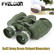 Optical Hunting 8x42 Binoculars Military Green Striped Telescope Green Film Low Light Night Vision Large Eyepieces widefield 30x eyepieces amscope supplies pair of super widefield 30x eyepieces 30mm