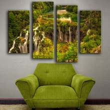 2017 Modern Canvas New Product Print Painting Wall 4pc/set River Waterfalls Plitvice Croatia Art Picture For Living Room