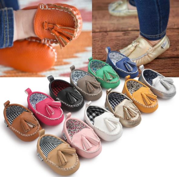 New Scottish style manual sewing baby shoes Infant shoes Soft Sole PU Leather First walkers Crib Brand baby Prewalkers Fringe