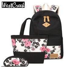 2017 новый большой емкости холст женщины рюкзак установить случайный plum blosso печать студенты подростки девушка плеча сумки коробку карандаш