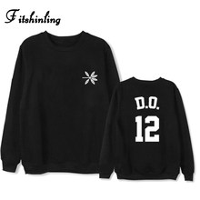 Fitshinling EXO 2017 winter hoodies sweatshirts letter print athleisure paired pullover couple clothes kpop the war sweatshirt(China)