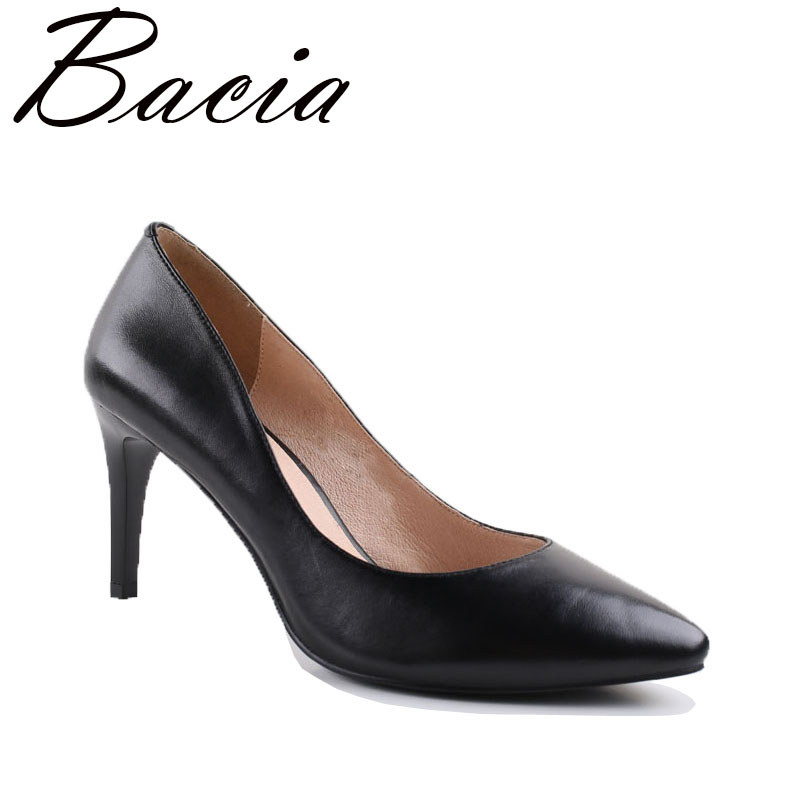Bacia Classic Black Sheepskin Pumps Vintage 8cm High Heels Black Women Shoes Pointed Toe Genuine Leather Pumps For Female VA007