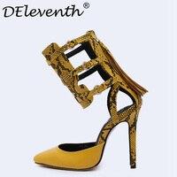 2017 חידוש חם אופנה צהובה ורוד זהב פרינג 'אישה נעלי עקבים גבוהים פגיון משאבות הבוהן מחודדת רוכסן Zapatos Mujer Size41