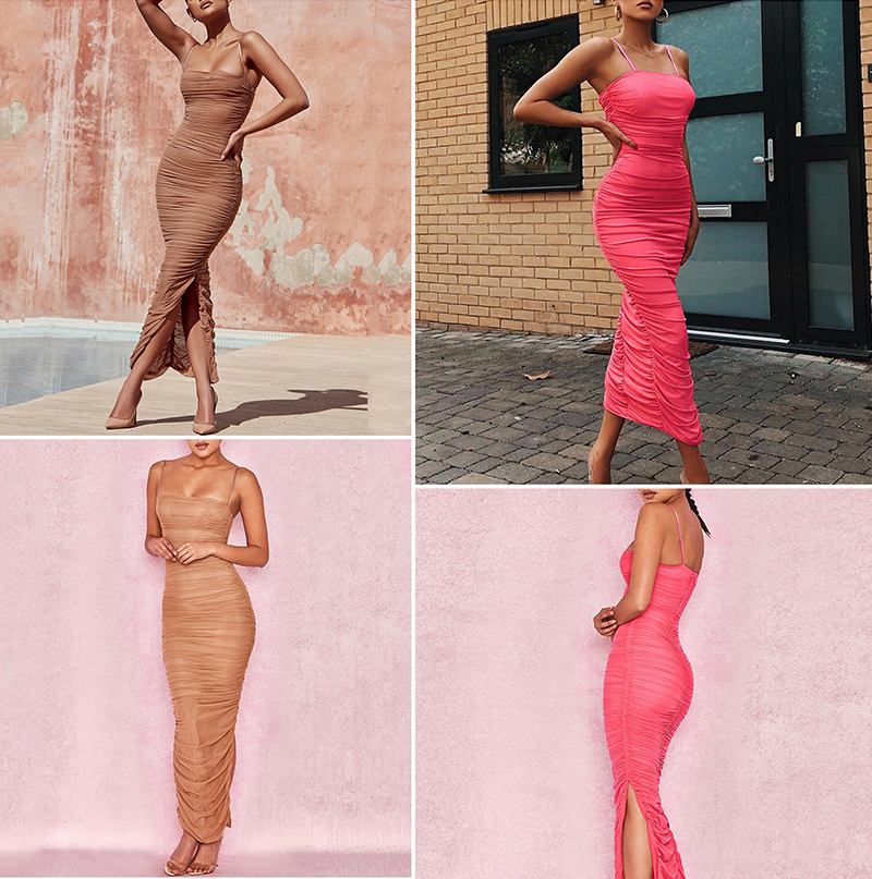 Sibybo Mesh Transparent Split Sexy Long Dress Party Spaghetti Strap Sleeveless Maxi Dress Summer Backless Bodycon Dress Women 4