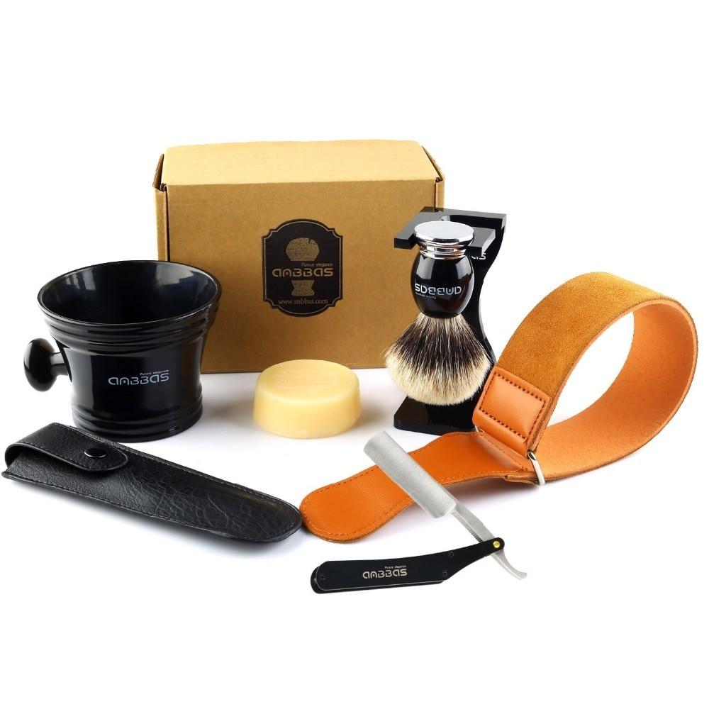 все цены на Anbbas 7Pcs Shaving Set Stainless Steel Straight Edge Razor Shaving Knife,Silvertip Badger Hair Brush, Stand,bowl,Soap,Strop