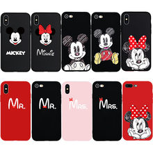Cute Cartoon Minnie Mickey Mouse MR MRS Couple Lovers Soft Case for iPhone 8 8Plus 6 6s Plus 7 7Plus X 5s Phone Cover(China)