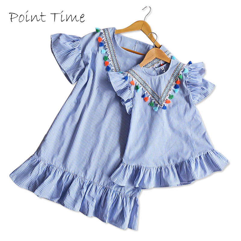 Summer Mom Daughter Dress Family Matching Outfit Mother Daughter Dresses Fashion Blue O-neck Tassels Dress Mother & Kids Clothes