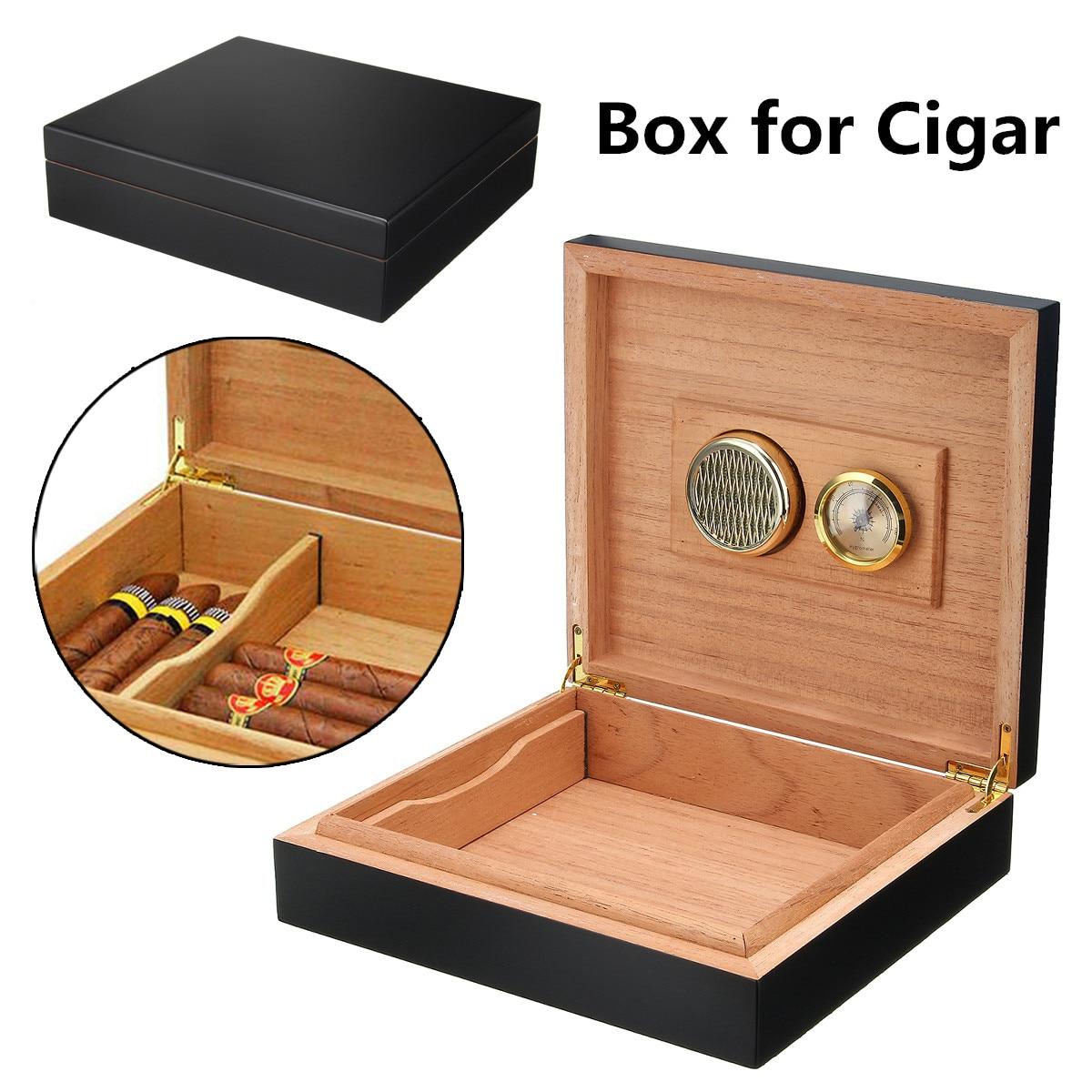 20-25 сигары черный дерево кедра с подкладкой портсигар коробка для хранения сигар с хьюмидор увлажнитель гигрометр для аксессуары