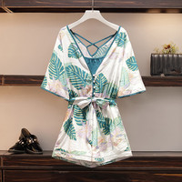 HAMALIEL Plus Size Summer Print Floral Playsuits 2019 Boho Women Short Sleeve Tie Bowknot Rompers Holiday Beach Playsuits L 4XL