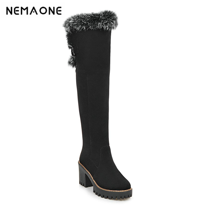 2019 sexg knee high ladies boots 8cm square high heels snow boots witer party shoes it`s black and brown large size34-43