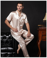 China Hot Selling 2016 Luxury Male Silk Sleepwear Twinset Men Long Sleeve Or Short Sleeve Silk