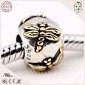 Top Quality Gold Dragonfly Pattern 925 Sterling Silver Ball Charm For European Chain